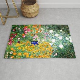 Flower Garden by Gustav Klimt vibrant Rug
