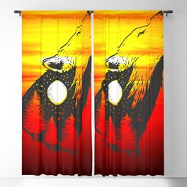 Negative space Wolf with forest Blackout Curtain