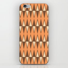Mid Century Modern Diamond Pattern Brown Orange 231 iPhone Skin