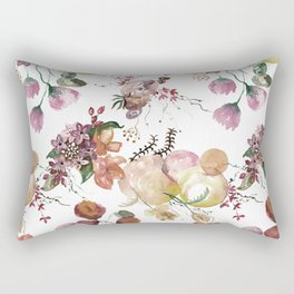 Watercolor Seamless pattern with Beautiful flowers and forest berries, Watercolour painting Rectangular Pillow