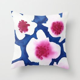 Splendor -dark blue and pink floral watercolor Throw Pillow