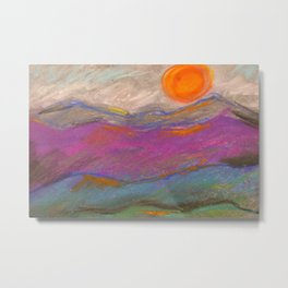 Abstract Mountain Landscape with Pastels Metal Print