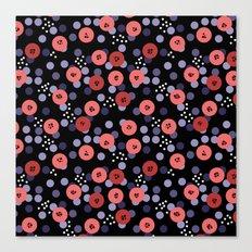 Polka dot 5 .Salmon on a black background . Canvas Print