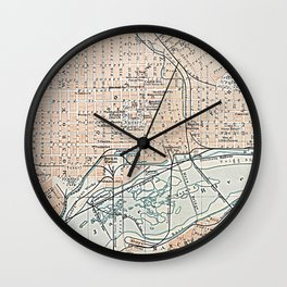 Vintage Map of Richmond VA (1904) Wall Clock