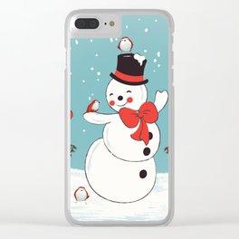 Snowman Winter Wonderland Clear iPhone Case