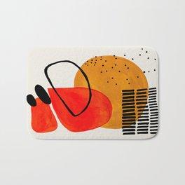 Mid Century Modern Abstract Colorful Art Yellow Ball Orange Shapes Orbit Black Pattern Bath Mat