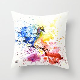 Underwater rainbow : the seahorse Throw Pillow