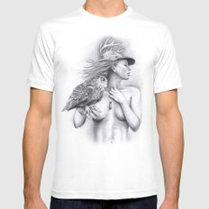 Mother Nature White MEDIUM Mens Fitted Tee