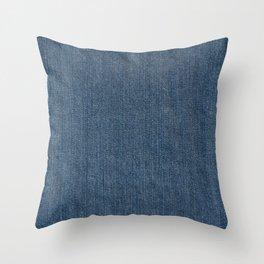 Blue Denim Texture Throw Pillow