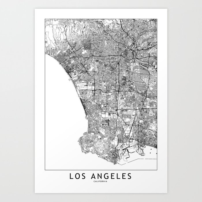 photo relating to Printable Map of Los Angeles identified as Los Angeles White Map Artwork Print by way of multiplicity