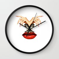 tigers Wall Clocks featuring Tigers  by Tina Time