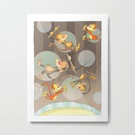 Monkey Acrobats Metal Print