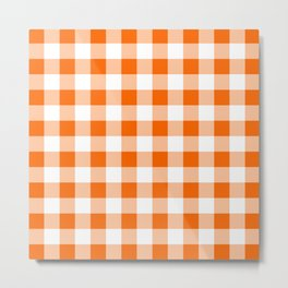 Orange Check Metal Print