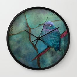 Hummingbird Abstract by Kimberly Schulz Wall Clock