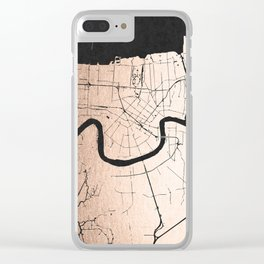 New Orleans Rose Gold and Black Map Clear iPhone Case