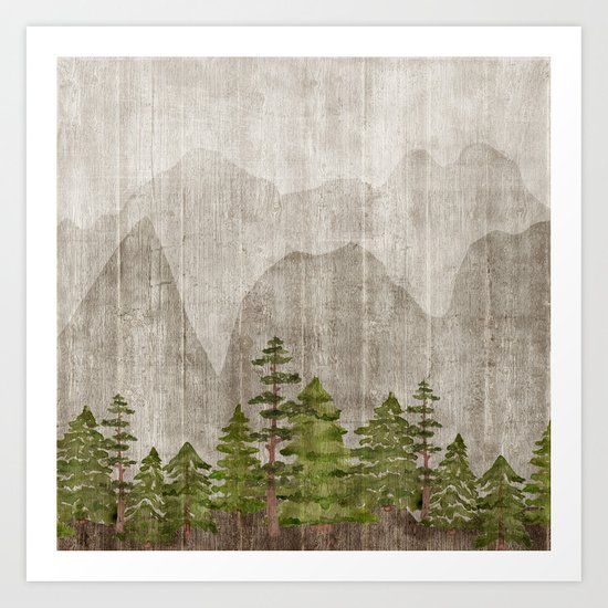 Mountain Range Woodland Forest by cateandrainn