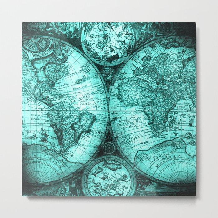 Vintage Turquoise Green Map Design Metal Print