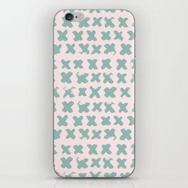 Contemporary X Paint Cross stich Pink Mint Pattern iPhone Skin