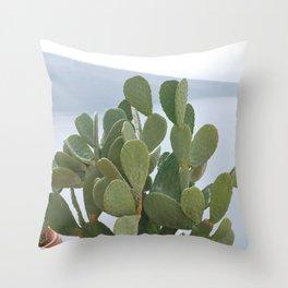Cactus in Santorini Throw Pillow