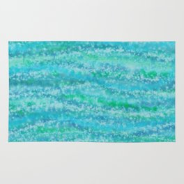 Abstract Blue Green Waves Rug
