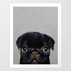 Black Pug Art Print