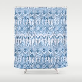Tribal Owl Feathers in Delft Blue Shower Curtain