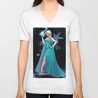 frozen elsa V-neck T-shirts featuring Frozen - Elsa by J Skipper