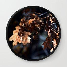 Winter oak leaves Wall Clock