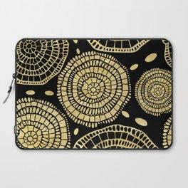 Gold Texture Modern Circles Pattern Laptop Sleeve