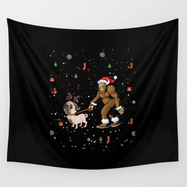 Bigfoot Pug Lover Christmas Wall Tapestry