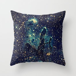 Pillars of Creation GalaxY  Teal Blue & Gold Throw Pillow