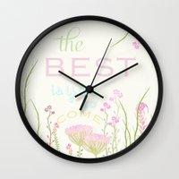 be happy Wall Clocks featuring HaPPy by Monika Strigel
