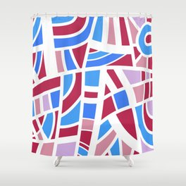 Broken Pink And Blue Abstract Shower Curtain