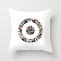 clint barton Throw Pillows featuring clint barton hawkguy bullseye by captainkittyspa