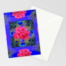 CONTEMPORARY PINK ROSES & PEACOCK FEATHERS BLUE ART Stationery Cards