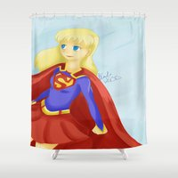 supergirl Shower Curtains featuring Super Girl by Kitty C.