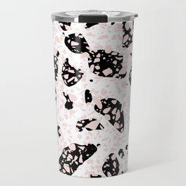 Tripple Terrazzo - Rose Pink Black & White Modern Speckle Pattern Travel Mug