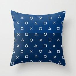 Gamepad Symbols Pattern - Navy Blue Throw Pillow