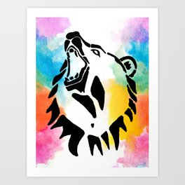 Azera Rainbow Watercolor Bear Art Print