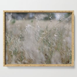 Tall wild grass growing in a meadow Serving Tray