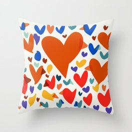 Illustration Minimal painting pattern Birds and Hearts Throw Pillow