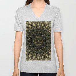 Detailed mandala in light and dark brown tones Unisex V-Neck