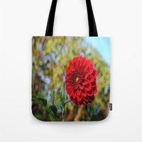 dahlia Tote Bags featuring Dahlia by Renee Trudell