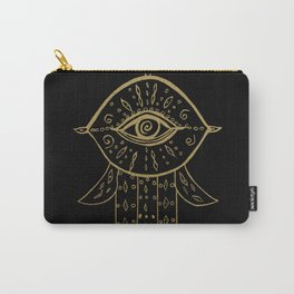 Hamsa Hand Gold on Black #1 #drawing #decor #art #society6 Carry-All Pouch