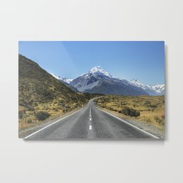 Road To Mountain New Zealand Nature Landscape Metal Print