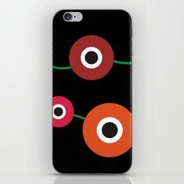 Red poppy circle on black iPhone Skin