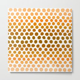 Burnt Honey Gold Amber Ombre Dots Metal Print