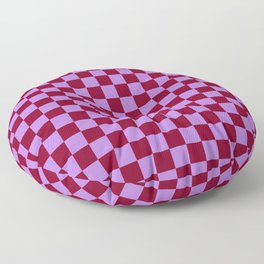 Lavender Violet and Burgundy Red Checkerboard Floor Pillow