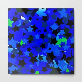 Punk Rock Stars Blue Metal Print