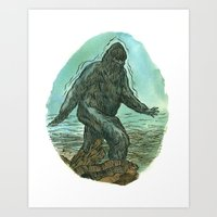 sasquatch Art Prints featuring Sasquatch by Samantha Bryanne